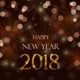 Happy new year 2018. Celebration concept with stylize golden text on brown background Royalty Free Stock Photos