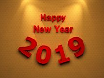 Happy New Year 2019. 3D Rendered Image Royalty Free Stock Photos