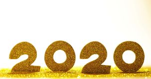 Happy New Year 2020. In glitters confetti isolated on white background stock video