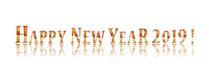 Happy new year 2019. Gold lettering on a white background. Vector illustration