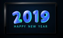 Happy New Year 2019. Greeting card with blue numbers and vector celebration white background Stock Image