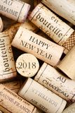 Happy New Year 2018. Greeting card with wine corks Royalty Free Stock Images