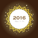 Happy new year 2016.Happy new year greeting with flower frame an Royalty Free Stock Images