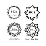 Happy new year 2016.Happy new year greeting with flower frame an Royalty Free Stock Photo