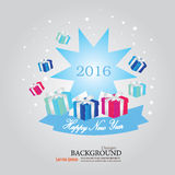 Happy new year 2016.Happy new year greeting with gift box . Vect. Or illustration stock illustration