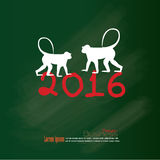 Happy new year 2016.Happy new year greeting with monkey and numb Stock Photography