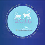 Happy new year 2016.Happy new year greeting with monkey and numb Stock Photos