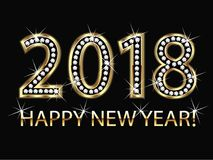 Happy new year 2018. 2018 happy new year greetings card gold and diamonds vector image picture template Stock Image