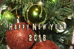 Happy New Year 2018. Holidays decoration as colored background royalty free stock photos