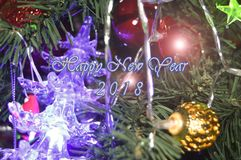 Happy New Year 2018. Holidays decoration  as colored background Royalty Free Stock Image
