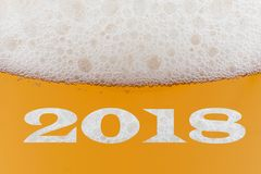 Happy New Year 2018. Inscription on a beer Royalty Free Stock Photos
