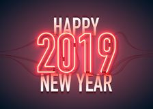 Happy new year 04. Happy New Year with neon sign 2019 on dark background. Christmas related ornaments objects on color background. Greeting Card Ready for your stock illustration