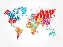 2018 Happy New Year. In shape of World Map typography, word cloud collage concept vector illustration