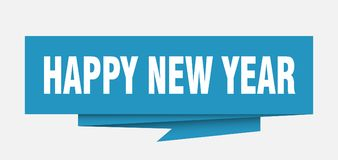 Happy new year. Sign.  paper origami speech bubble.  tag.  banner vector illustration