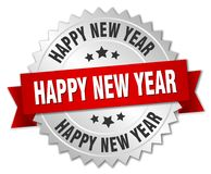 Happy new year. Silver badge with red ribbon vector illustration