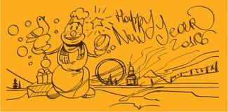 Happy new year 2016. Snowman, celebration invitation Vector illustration royalty free illustration