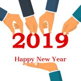 Happy New Year 2019. Team businessmen holding numbers 2019, and text congratulations, greetings. Vector illustration. Isolated on white background Stock Illustration