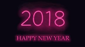 Happy New 2018 Year. Vector holiday illustration of glowing neon 2018 sign Royalty Free Stock Images