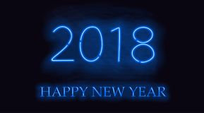Happy New 2018 Year. Vector holiday illustration of glowing neon 2018 sign Stock Photo
