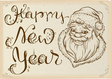 Happy New Year. Head of Santa Claus and text lettering. Template greeting card. Illustration in vector format Stock Image