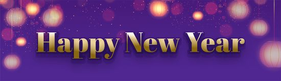 Happy New Year header or banner design decorated with blurred ha. Nging lanterns royalty free illustration