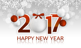 Happy New Year 2017 headline or banner with hanging bauble, bow, snowflakes, snow  Royalty Free Stock Photos