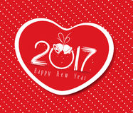 Happy new year 2017 with heart greeting Royalty Free Stock Photography
