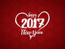 Happy 2017 New Year in Heart on red background. Stock Photos