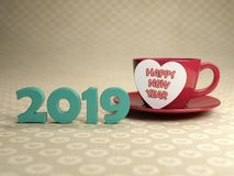 Happy New Year 2019 with Heart Symbol. 3D Rendered Image Royalty Free Stock Photos