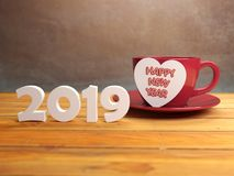 Happy New Year 2019 with Heart Symbol. 3D Rendered Image Royalty Free Stock Images