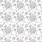 Happy new year in Hebrew seamless pattern background. Hand drawn elements. Rosh Hashanah symbols. Vector. Illustration Stock Images