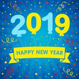 2019 happy new year helium balloons lettering and colored confetti greeting card vector illustration