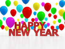 Happy New Year. Heppy New Year in 3d with floating balloons Stock Image