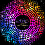 Happy New Year 2016 - Hexagon Disco lights Royalty Free Stock Images