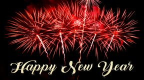 Happy New Year with fireworks on the background royalty free stock photos
