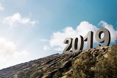 Happy New Year 2019. 2019 on the hilltops. Happy New Year 2019 royalty free stock image