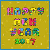Happy New year 2017. Hippie artistic font. Festive inscriptin by colorful vintage letters. Happy New year 2017. Hippie artistic font. Vector Illustration. EPS 8 Royalty Free Stock Photography