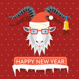 Happy New Year 2015 hipster goat. Happy New Year 2015 poster with hipster goat sign. Vector illustration Royalty Free Stock Image