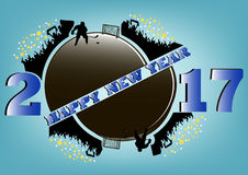 Happy new year 2017 and  hockey. Happy new year 2017 and hockey puck with hockey fans. hockey player scores a goal in the gate. Vector illustration Royalty Free Stock Image
