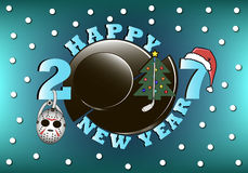 Happy new year 2017 and  hockey. Happy new year 2017 and hockey puck, mask, stick with Christmas tree  and hat. Vector illustration Royalty Free Stock Photography