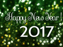 Happy New Year 2017 holiday background with bokeh Stock Image