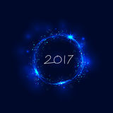 Happy new year 2017 holiday background.2017 Happy New Year. Greeting card.Happy new year 2017 and abstract burning circles with glitter swirl trail effect Royalty Free Stock Image
