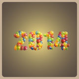 Happy new 2014 year. holiday background with multicolored balloons Stock Image
