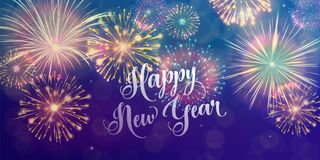 Happy New Year holiday background. Seasons greetings, fireworks design concept. Happy New Year holiday banner background. Seasons greetings, color fireworks Stock Images