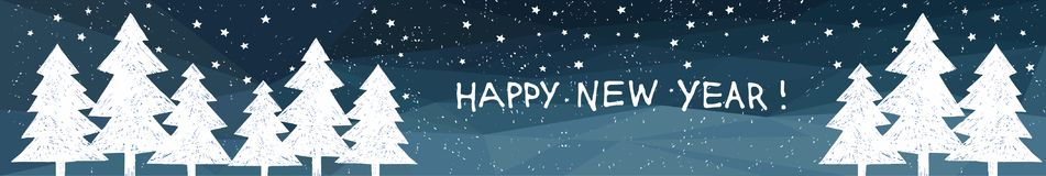 Happy New Year holiday banner with Hand drawn lettering. Forest on lowpoly background. Stock Photography