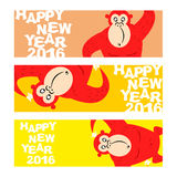 Happy new year. Holiday banner for Web. Symbol of Chinese new year. 2016-Red monkey. Funny, cute wild animal monkey Stock Images