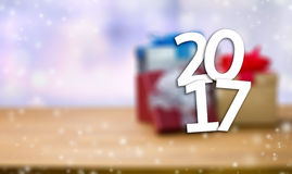 2017 Happy New Year Holiday on blur bokeh and box background wit. H christmas ball star snowflake confetti snow , shining banner Stock Photos