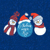 Happy New Year! Holiday card with cute snowmen. Vectort cartoon background with with a greeting in Russian. Stock Photography