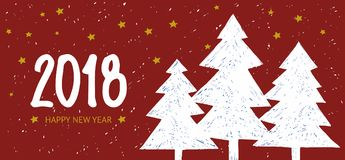 Happy New Year 2018 holiday banner on red background with Hand drawn lettering. Fir tree card. Happy New Year 2018 holiday card with fir tree on red background Royalty Free Stock Images