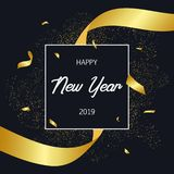 2019 Happy New Year holiday card with gold confetti and golden stripe. Celebration banner, poster with frame and decoration. Stock Photo